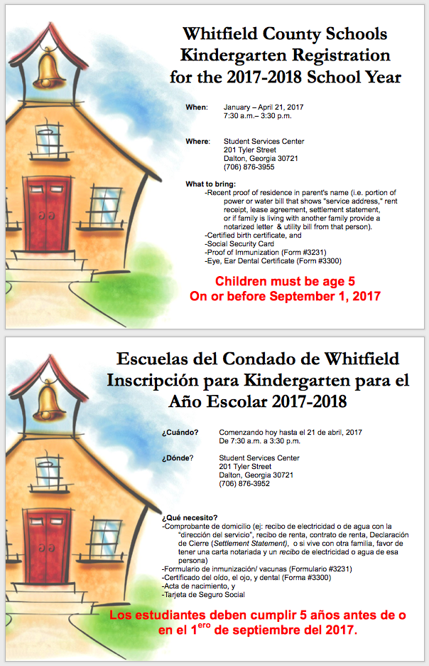 kindergarten registration flier in English and Spanish