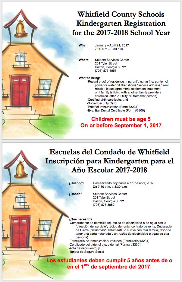 kindergarten registration flier in English and Spanish